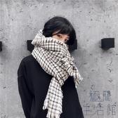 復古英倫風仿羊絨百搭兩用圍巾女秋冬保暖格紋圍脖披肩【極簡生活】
