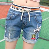 破洞高腰牛仔短褲女夏15顯瘦學生寬鬆12歲女孩13初中生14鬆緊腰