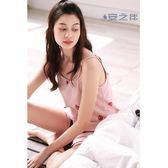 草莓吊帶睡衣女夏甜美可愛純棉無袖家居服短褲韓版居家套裝   LannaS