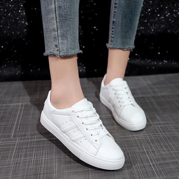 小白鞋  女2019春季新款韓版百搭平底休閒板鞋秋季學生女鞋皮面白鞋 3色35-39