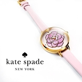 kate spade / KSW1257 / Metro 層次綻放花朵珍珠母貝真皮手錶 粉x金框 34mm