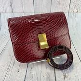 BRAND楓月 CELINE 酒紅色 蛇皮 164174 CLASSIC BOX MEDIUM 中款 肩背包 斜背包