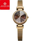 JULIUS 聚利時 成熟歷程立體鏡面米蘭帶腕錶-古銅金/26mm 【JA-1020E】