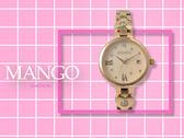 【時間道】MANGO時尚俏麗仕女腕錶 /粉貝殼面愛心玫瑰金鋼帶(MA6729L-RG)免運費