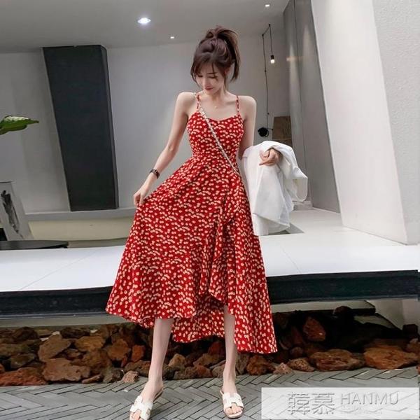 紅色v領碎花雪紡洋裝吊帶法式復古女夏小雛菊度假沙灘中長裙子 萬聖節狂歡