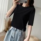 黑色短款t恤女夏中袖修身半袖2021年新款體桖五分袖高腰上衣ins潮 【母親節特惠】