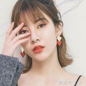 秋冬新款菱形耳環氣質韓國個性百搭簡約耳墜女純銀針耳釘網紅耳飾