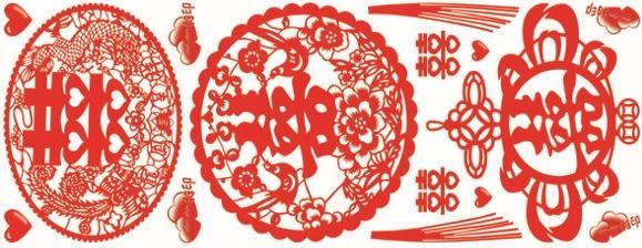 壁貼【橘果設計】囍字貼 過年 新年 無膠靜電貼 玻璃適用 21*56公分 DIY組合壁貼 牆貼 壁紙
