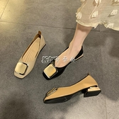 高跟鞋女新款韓版方頭百搭網紅仙女風粗跟淺口一腳蹬奶奶鞋【新年熱歡】