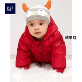 Gap男嬰兒 保暖加厚長袖連身羽絨外套 寶寶連帽羽絨衣 348678-蘋果紅