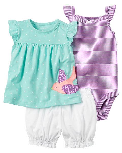 3件組肩帶連身裙+包屁褲套裝組: 水藍小鳥: 121H113