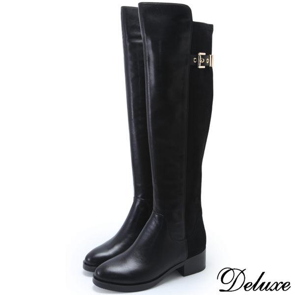 【Deluxe】全真皮拼接麂皮拉鍊扣飾膝上靴(黑)