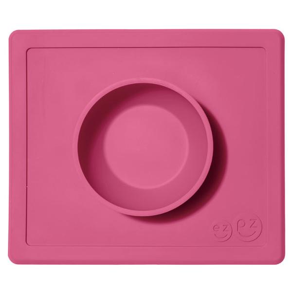美國 EZPZ HAPPY BOWL快樂防滑餐碗/餐具/安全/無毒/矽膠 蜜桃粉
