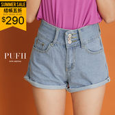 (現貨-藍S-L)PUFII-短褲 顯瘦三釦高腰丹寧牛仔短褲-0621 現+預 夏【ZP14858】