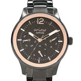 【人文行旅】Arioso   AR1711BK 低調優雅黑金女生腕錶 35mm