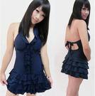 ★草魚妹★編號33韓國深藍修身洋裝型游泳裝泳衣有加大碼,直購價680元
