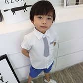 條紋小領帶短袖襯衫 橘魔法Baby magic 現貨 婚禮花童 禮服 西裝 兒 童裝 男童