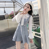 VK精品服飾 韓系蝴蝶結喇叭袖拼接荷葉邊假兩件長袖洋裝