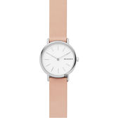 Skagen Signature 北歐簡約女錶-白x粉色錶帶/30mm SKW2695
