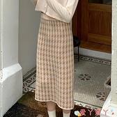 半身長裙 早春季2021年新款格子包臀裙子中長款針織A字半身裙女冬天配毛衣 愛丫 免運
