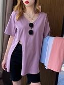 中長款V領白色T恤女夏季新款寬鬆設計感側開叉棉麻短袖上衣潮 秋季新品