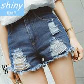 【V8106】shiny藍格子-夏日輕曲.百搭顯瘦高腰破洞毛邊牛仔短褲