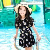 兒童泳衣女孩中大童連體平角連體裙式游泳衣寶寶女童遮肚  XY1428  【男人與流行】