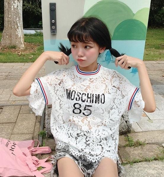 [超豐國際]女裝萌系學院風可愛字母印花袖子拼接顯瘦少女百搭蕾(1入)