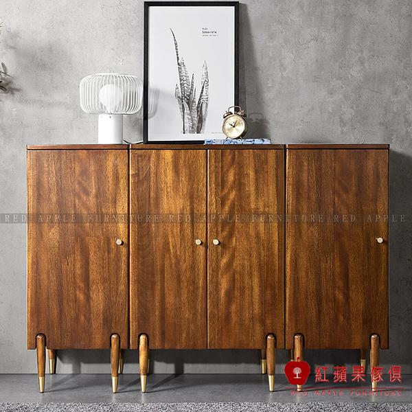[紅蘋果傢俱]MG1005 金絲檀木(胡桃木)系列 單/雙片邊櫃 收納櫃 斗櫃 櫥櫃  書櫃 實木 北歐風 輕奢