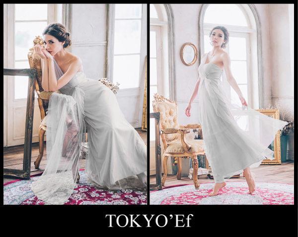 東京衣服 氣質甜美 單肩網紗水鑽別針高腰長禮服 伴娘款  白