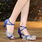 拉丁舞鞋成人中跟高跟舞蹈鞋軟底廣場舞女鞋跳舞涼鞋 zm3175『男人範』