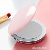 化妝鏡化妝鏡隨身便攜翻蓋折疊小鏡子女LED帶燈發光梳妝化妝鏡FU型 莫妮卡小屋