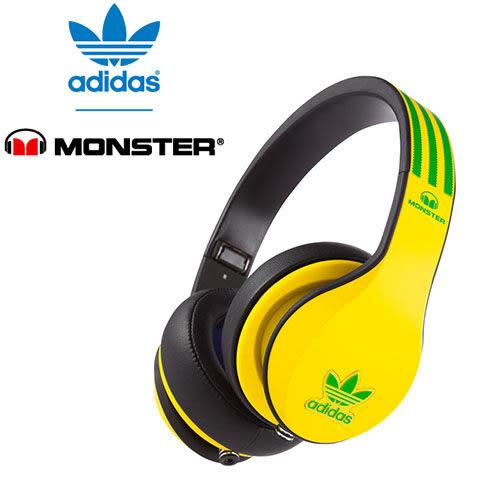 美國 Monster x adidas 聯名限量版耳罩式耳機(黃綠),公司貨,附保卡,一年保固