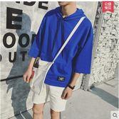夏季韓版男士衛衣寬鬆帶帽七分袖t恤PLL3630【男人與流行】