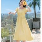 韓式鵝黃方領雪紡顯瘦連身裙黃色洋裝[67202-KF]美之札-度假式洋裝