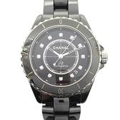CHANEL 香奈兒 黑色陶瓷鑲12P鑽石英腕錶 J12 H5702 38mm  【BRAND OFF】