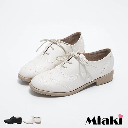 英倫雅痞牛津雕花綁帶低跟包鞋 (MIT )