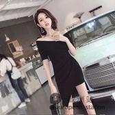 洋裝/裙子夏女新款夜場女裝修身顯瘦一字肩性感V領不規則連身裙「歐洲站」