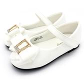 《7+1童鞋》普萊米 PRIVATE 圓頭方鑽 造型蝴蝶結 休閒鞋 公主鞋 娃娃鞋 D665 白色