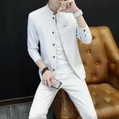 夏季西服男時尚韓版條紋小西裝修身立領西服中山裝中國風中袖套裝