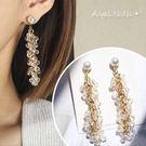 耳環《可改耳夾式》《可改S925銀針》華麗風珍珠水晶吊墬流蘇耳針 (SRA0100) AngelNaNa