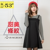 長袖上衣--簡約可愛風格條紋圓領假兩件吊帶裙長版A字上衣(黑L-5L)-X272眼圈熊中大尺碼