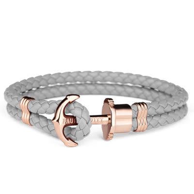 【時間道】Paul Hewitt ⚓️ 德國設計師品牌 船錨皮繩手環 /玫瑰金釦灰皮 (PH-PH-L-R-GR)免運費