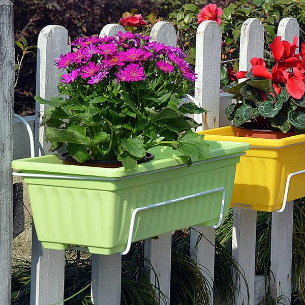長方形塑料花盤大號 陽台種花種菜花盤 花槽掛架 長條形花盆igo【蘇迪蔓】