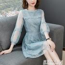 女裝時尚刺繡雪紡洋裝蕾絲邊中長款修身A字裙春季新品