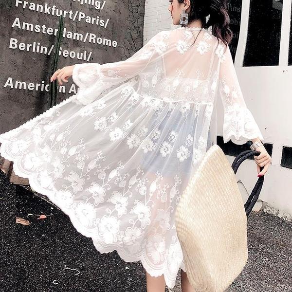 防曬罩衫海邊沙灘外套2019夏季新款刺繡蕾絲開衫寬鬆中長款防曬衣薄外套女【快速出貨八折下殺】