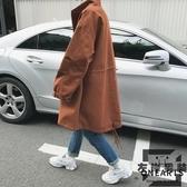 風衣外套秋季寬鬆夾克中長款青少年帥氣休閒大衣【左岸男裝】