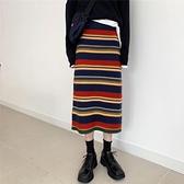 半身長裙 針織半身裙中長款女秋冬復古高腰包臀裙直筒長裙彩虹條紋毛線裙子  伊蘿