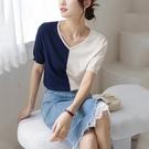 撞色V領短袖針織上衣針織衫t恤【59-14-8T35002-21】ibella 艾貝拉