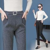 熱賣毛呢哈倫褲 新款秋冬季哈倫褲女褲寬鬆直筒黑色長褲休閒毛呢工裝西裝褲子 coco